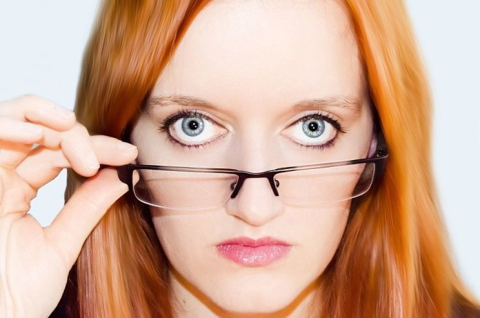woman wearing optical glasses