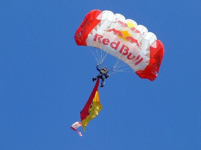 flying parachute with business logo